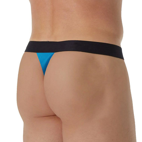Mens Underwear - Front view of Papi Underwear Players Club Thong in Blue - Mens Thong Underwear