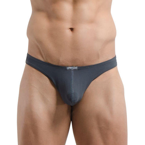 Mens Underwear - Front view of Ergowear X4D Thong in Space Grey - Enhancing Male Thong Underwear