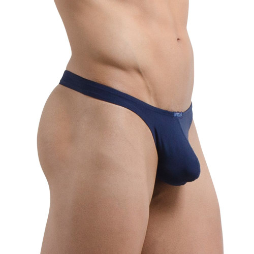 Mens Underwear - Front view of Ergowear X4D Thong in Navy - Enhancing Pouch Mens Thong