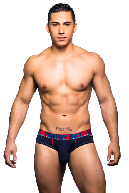 Men's Underwear - Front view of navy Trophy Boy brief for hung guys from Andrew Christian