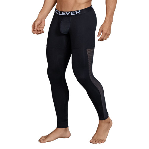 Mens Underwear - Front view of Clever Underwear Astist Athletic Pants - Athletic Long Johns with Mesh Panels