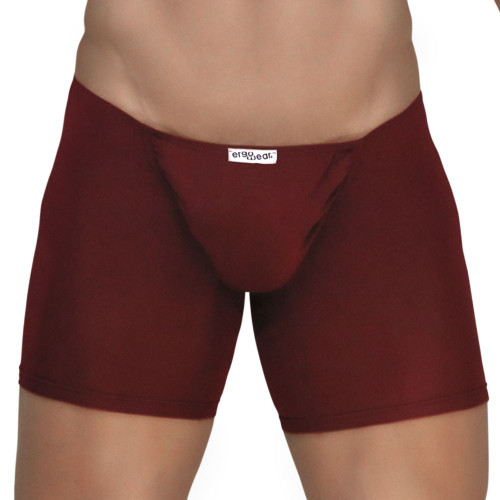 Mens Underwear - Image of Ergowear Underwear FEEL Modal Long Boxer in Burgundy - Ergonomic Pouch Boxer Brief