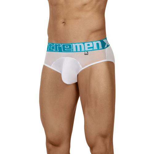 Mens Underwear - Image of Xtremen Underwear Peekaboo 2 Mesh Briefs - Full Fitting Brief with See Thru Sheer Mesh Sections