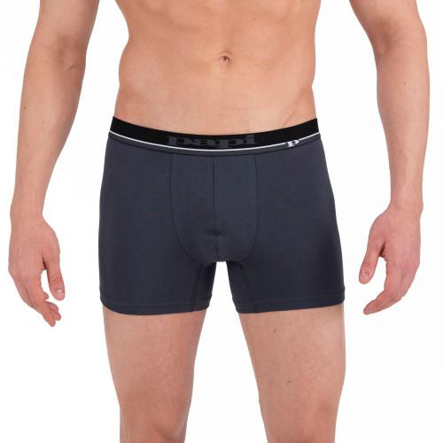 Mens Underwear - Image of Papi Underwear Solid Boxer Briefs 4 Pack Black / Light Grey / Dark Grey - Cotton Underwear