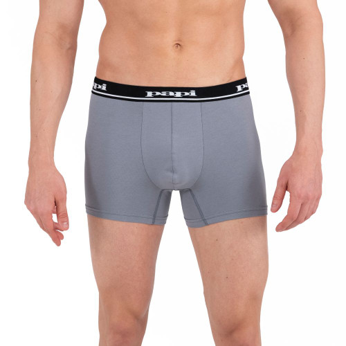 Mens Underwear - Image of Papi Underwear Solid Boxer Brief 4 Pack in Black / Red / Grey - Cotton Mens Underwear