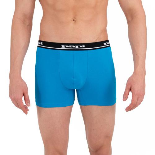 Mens Underwear - Image of Papi Underwear Solid Boxer Briefs 4 Pack Black / Blue / Grey - Cotton Boxer Shorts