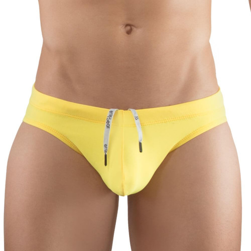 Enhancing Mens Swimwear - Ergowear Swimwear X4D Swim Bikini in Yellow - Sexy Ergonomic Pouch Mens Swimwear front view