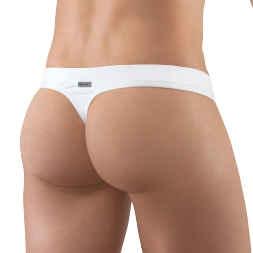 Mens Swimwear - Ergowear Swimwear X4D Swim Thong in White - Mens Ergonomic Pouch Swimwear rear view