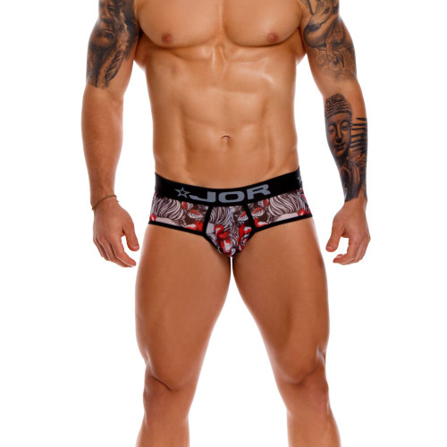 JOR Underwear Detroit Briefs - Stylish Skull Themed Print Full Fitting Mens Brief Underwear