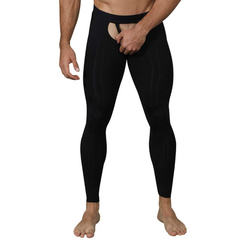 Pikante Underwear Bliss Soho Long Johns - Open Front & Rear Sexy Full Male Leggings With Mesh