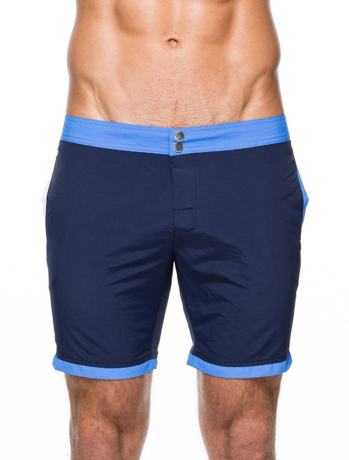 Men's swim shorts - Front view of teamm8 Deck Swim shorts – Stylish swim shorts for the beach and the bar. Available in navy blue.