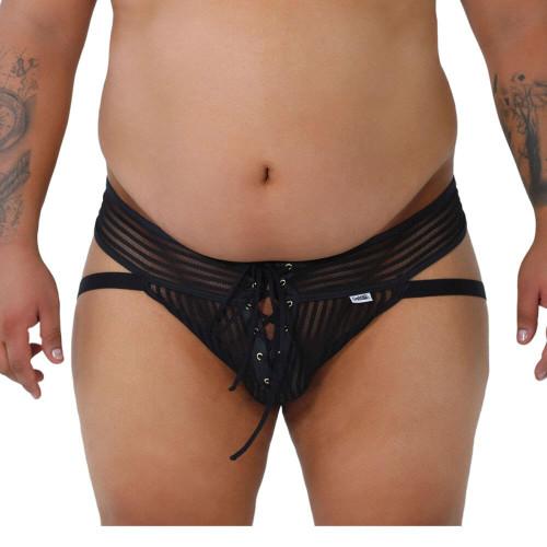 CandyMan Underwear Plus Size Mesh Stripes G-String Jockstrap - Mesh Jock Thong Undies