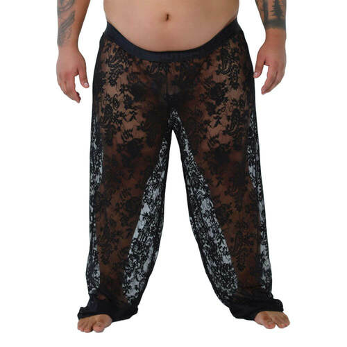 CandyMan Underwear Plus Size Lace Lounge Pants - See Thru Relaxed Fit Pyjama Style Pants