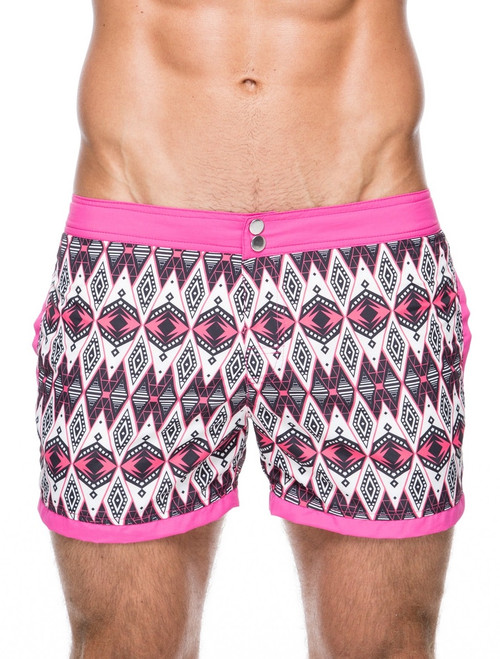 Men's swim shorts - Front view of teamm8 Hunter short length honeysuckle pink Swim shorts – Stylish tribal patterned swim shorts for the beach and the bar.