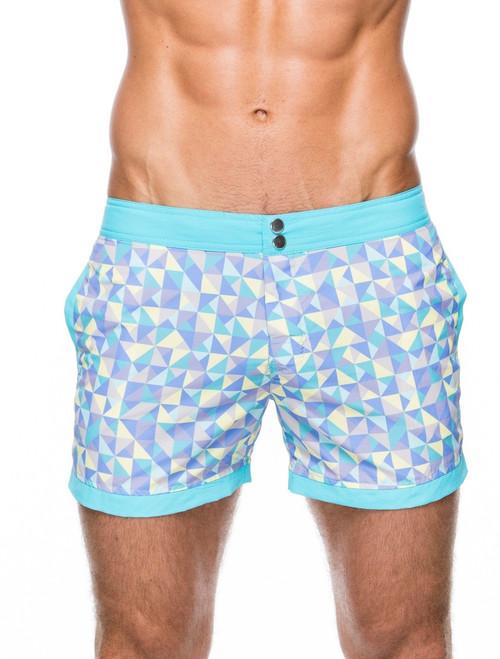 Men's swim shorts - Front view of teamm8 Cabana short length aqua Swim shorts – Stylish shape patterned swim shorts for the beach and the bar.