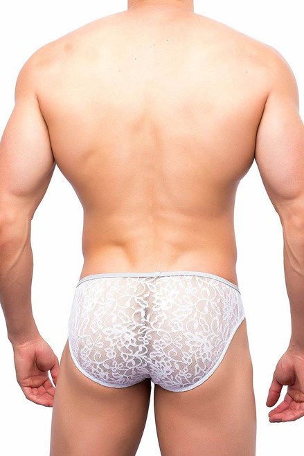 Rear view of Joe Snyder Enhancing Underwear in White Lace