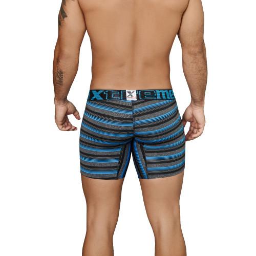 Mens Underwear - Front view of Xtremen Boxer Briefs Microfiber Stripes