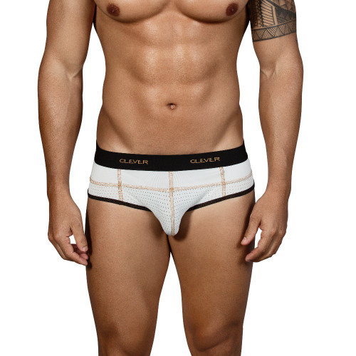 Mens Underwear - Front view of Clever Sweetness Piping Briefs - Mesh Briefs