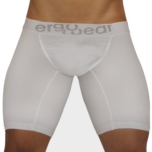 Mens Underwear - Front view of Ergowear FEEL Modal Long Boxer Briefs - White