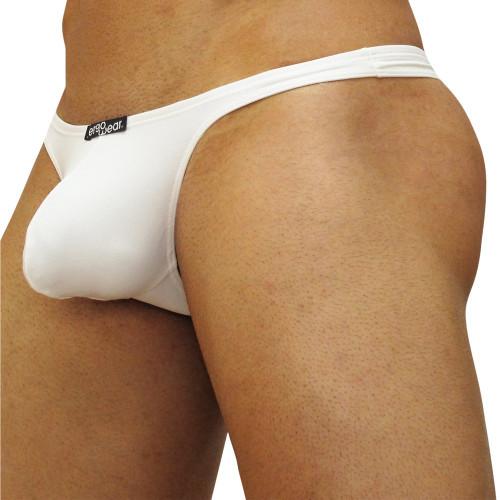 Mens Underwear - Front view of Ergowear X3D Thong - White
