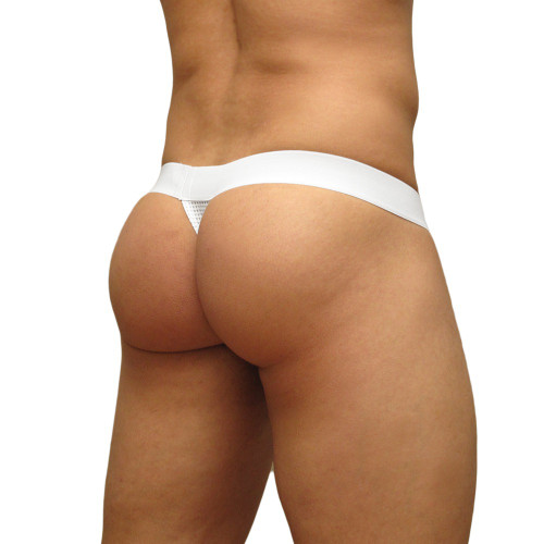 Mens Underwear - Front view of Ergowear MAX Mesh Thong - White