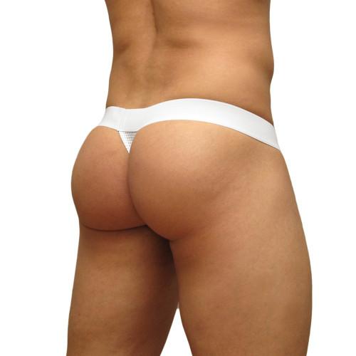 Mens Underwear - Front view of Ergowear MAX Mesh Thong - White