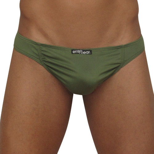 Mens Underwear - Front view of Ergowear FEEL Suave Thong In Olive Green
