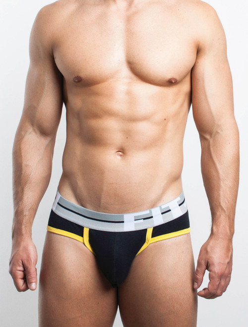 Men's Briefs - Front view of black with yellow trim Colour Day Brief by FIT-IN1