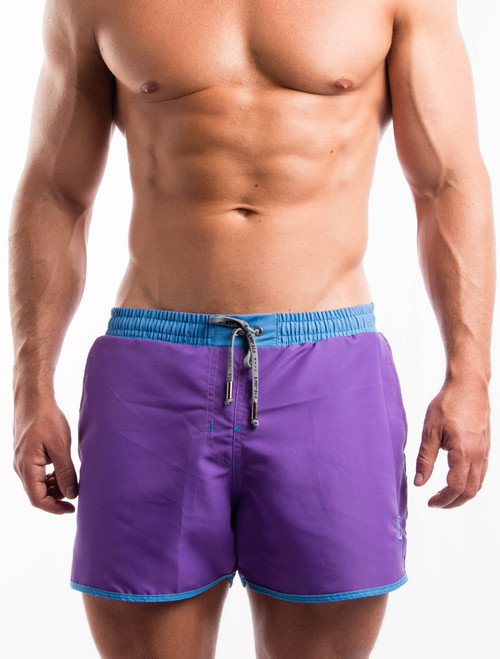 Men's Swim Shorts - Front view of purple swim shorts by FIT-IN1