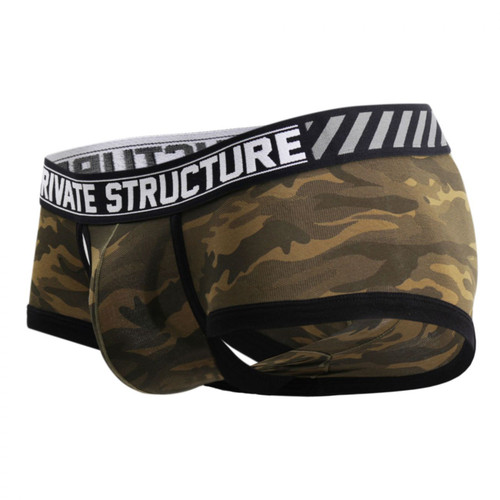 Mens Underwear - Front view of Private Structure Soho Camouflage Mesh-Fly Trunk