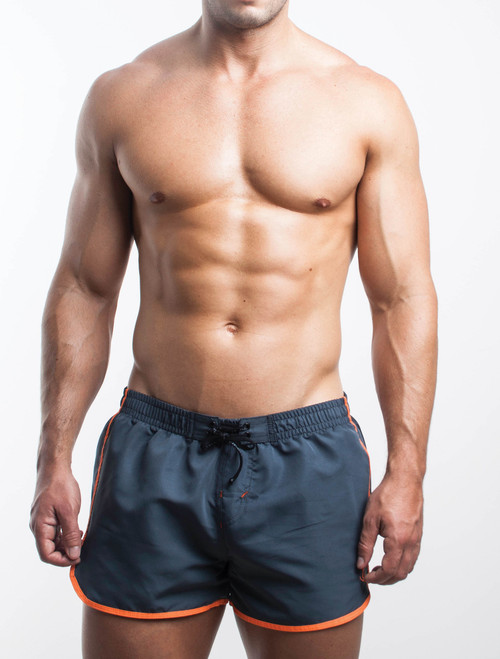 Men's Swim Shorts - Front view of charcoal grey Retro Swim Shorts by FIT-IN1