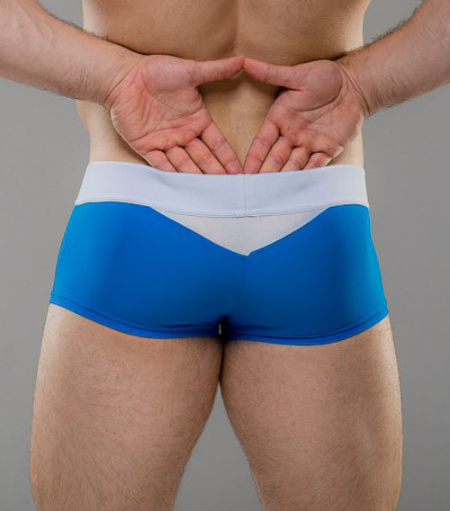 Men's Underwear - Rear view of Cobalt Full Trunk with enhancing pouch by Sukrew