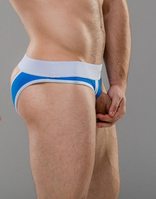 Men's Sexy Underwear - Front view of Cobalt jockstrap style UV Brief with revealing U panel by Sukrew