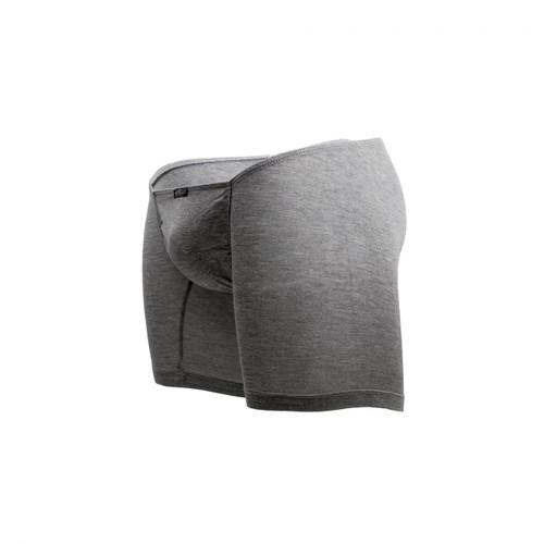 Mens Underwear - Front view of Ergowear FEEL Modal Long Boxer - Smoke Grey