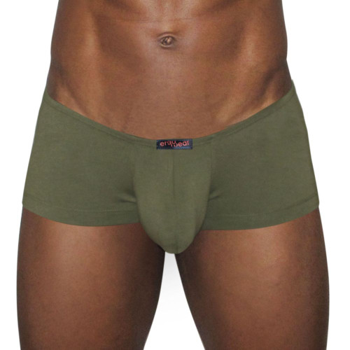 Mens Enhancing Underwear - Ergowear X3D Modal Mini Boxer in Olive front view. Mens Sexy Enhancing Trunk  Underwear