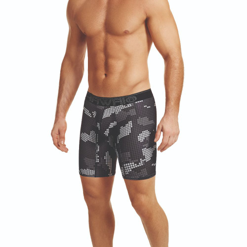 Mens Underwear - Front view of HAWAI Digital Camo Long Boxer Briefs