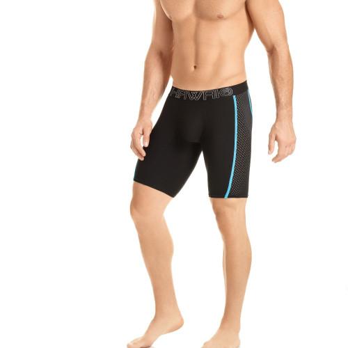 Mens Underwear - Front view of HAWAI Long Boxer Briefs - Black / Blue Stripe