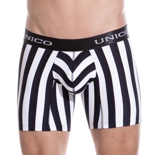 Mens Underwear - Front view of Unico Boxer Briefs Blackline Microfiber