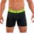 Mens Underwear - Front view of Undertech Sports Mesh Boxer Brief 2 Pack - Black / Acid Lime