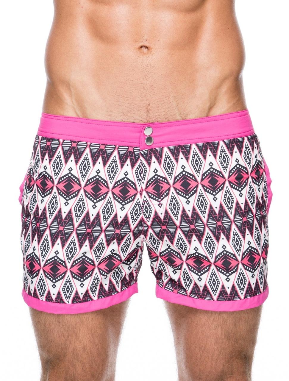 4f48c6ebaa Men's swim shorts - Front view of teamm8 Hunter short length honeysuckle pink  Swim shorts –