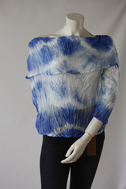 Fine China Silk top Fine Hand dyed with real Indigo. Front