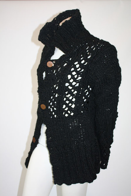 Handknitted Jacket, Soft Himalayan Wool handspun irregularly and hand dyed in dark Black. Front from side.