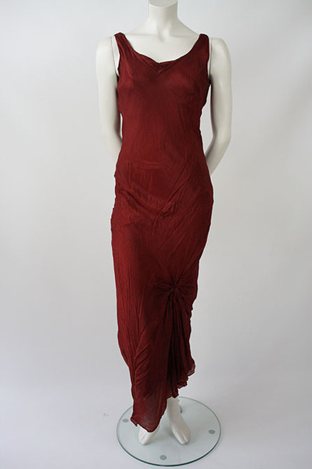 Silk Georgette triple- layered Bias Cut Top. Deep Scarlet red with Gold and black gives reminiscent of Flames. Front