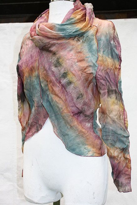 Soft Pastel Shibori painted wearable Art Silk Bolero. One of a Kind, handmade by the Designer. Front
