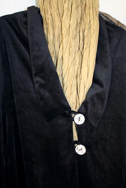 Smoothest black velvet one-of a kind Pantsuit Designer seashell buttons blazer style.