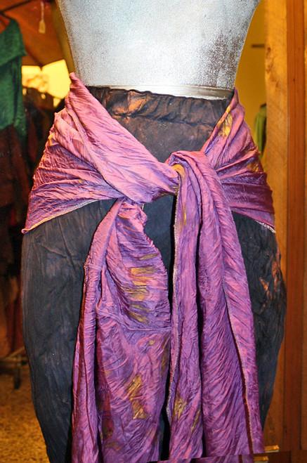 Bias cut silk skirt deep night blue raw silk.
