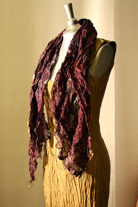 Deep purple hand woven raw silk scarf handpainted in copper and silver.