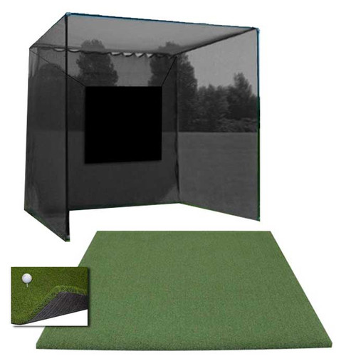 5 Star 10x10x10 High Velocity Commercial Golf Cage - 5 Star Perfect ReACTION Urethane Backed Golf Mat Combo