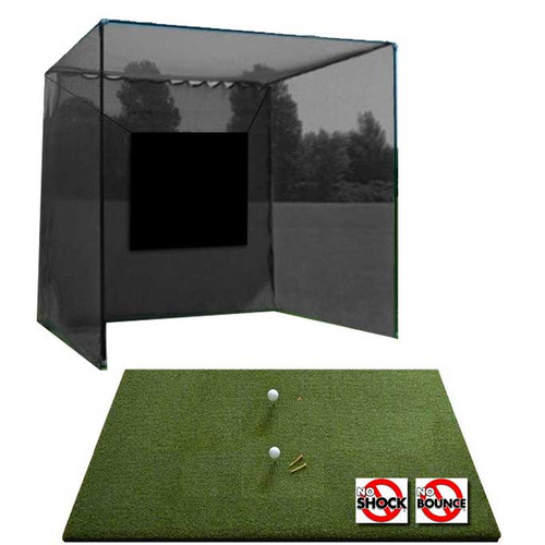 5 Star High Velocity Commercial Golf Cage 10x10x10 and 5 Star Perfect ReACTION Golf Mat Combo
