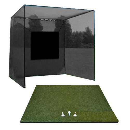 5 Star High Velocity 10x10x10 Commercial Golf Cage and 5 Star Zoysia Fairway Golf Mat Combo